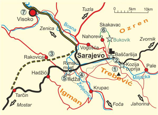Map of Around Sarajevo