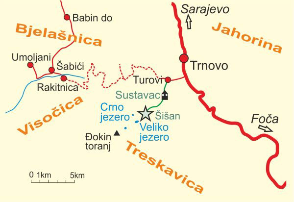 Map of Mount Treskavica