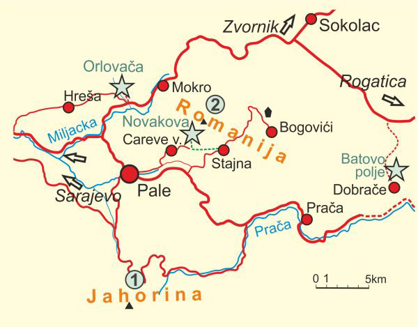 Map of Mt.s Jahorina and Romanija