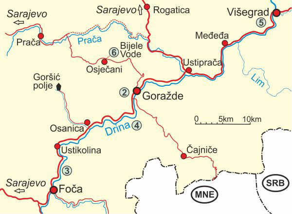 Map of Drina River - Upper Course