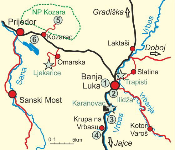 Map of Banja Luka and Kozara NP