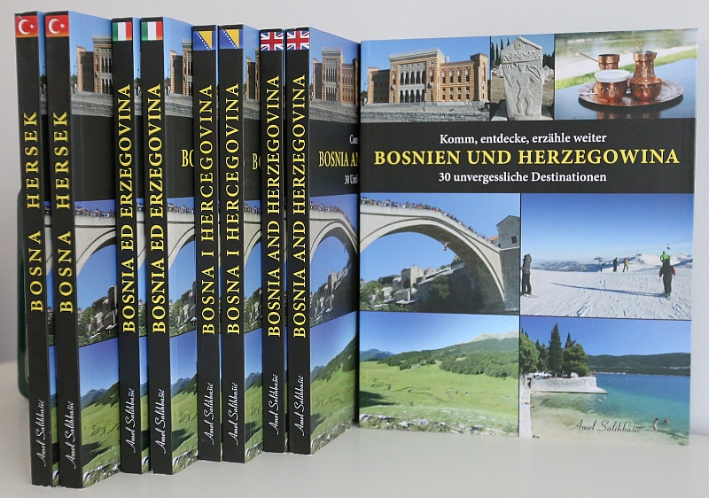 all five editions of the traveler guide/book BOSNIA AND HERZEGOVINA in one picture