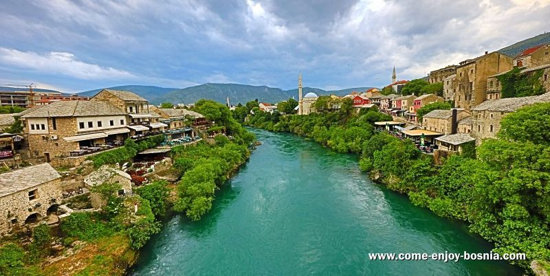 View from the Old Bridge in Mostar